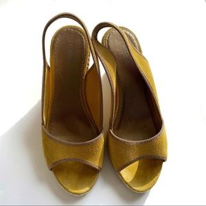 J. Crew Yellow Peep Toe Wedge Sandal